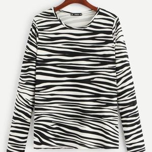 Animal Print Round Neck T-Shirt